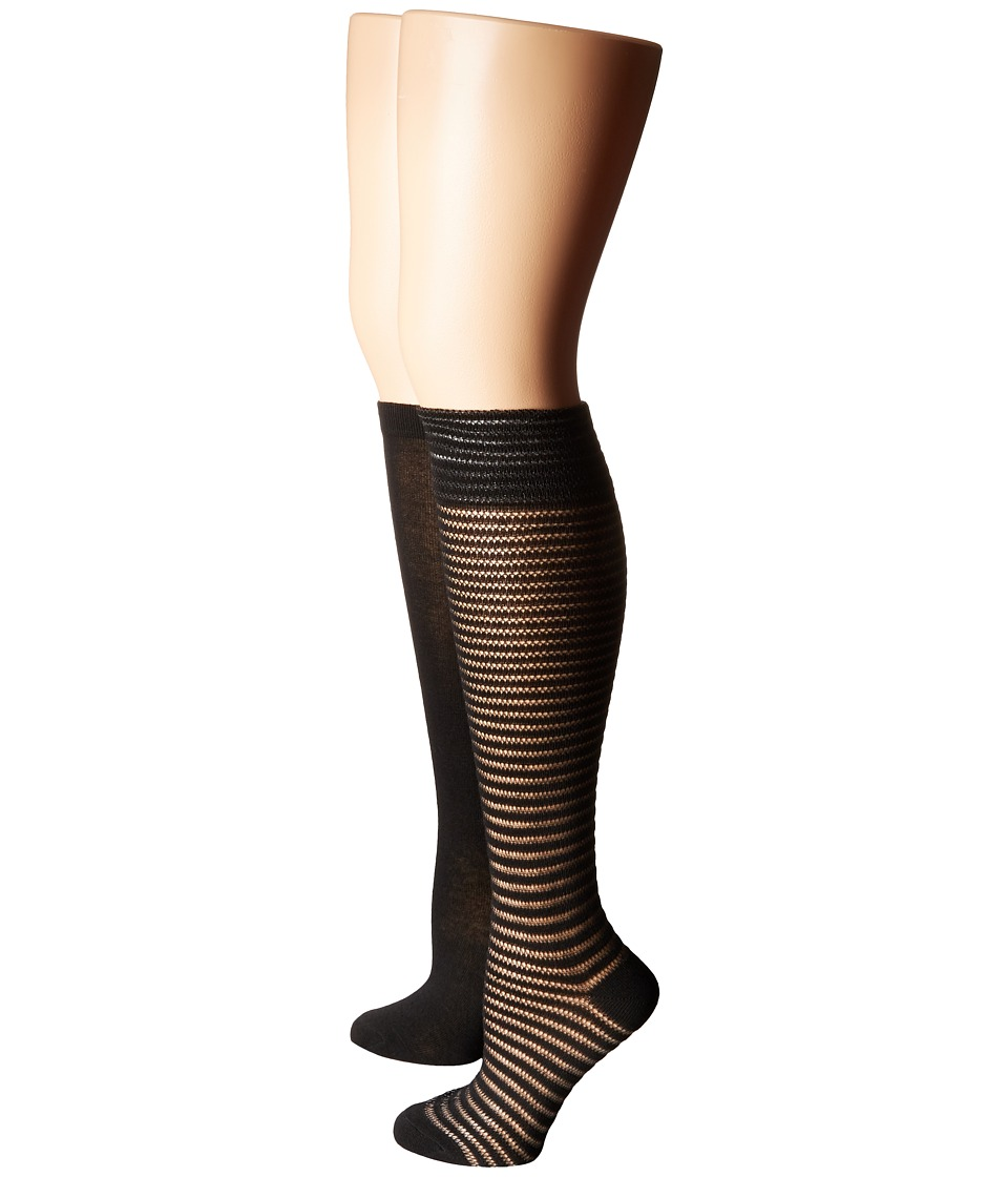 Steve Madden - 2-Pack Crochet Knee High (Black/Black) Women's Knee High Socks Shoes