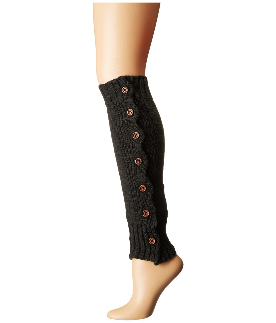 Steve Madden - Button Side Leg Warmer (Charcoal) Women's Knee High Socks Shoes
