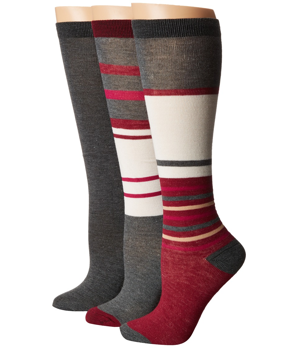 Steve Madden - 3-Pack Stripe Knee High (Heather Grey) Women's Knee High Socks Shoes