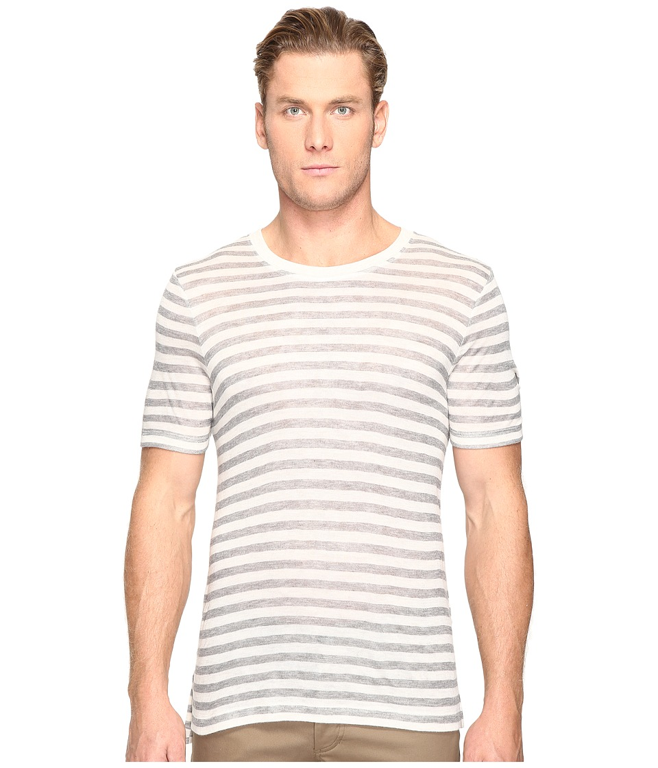 ATM Anthony Thomas Melillo - Wide Trim Ringer Tee (Oatmeal/Gray Stripe) Men's T Shirt