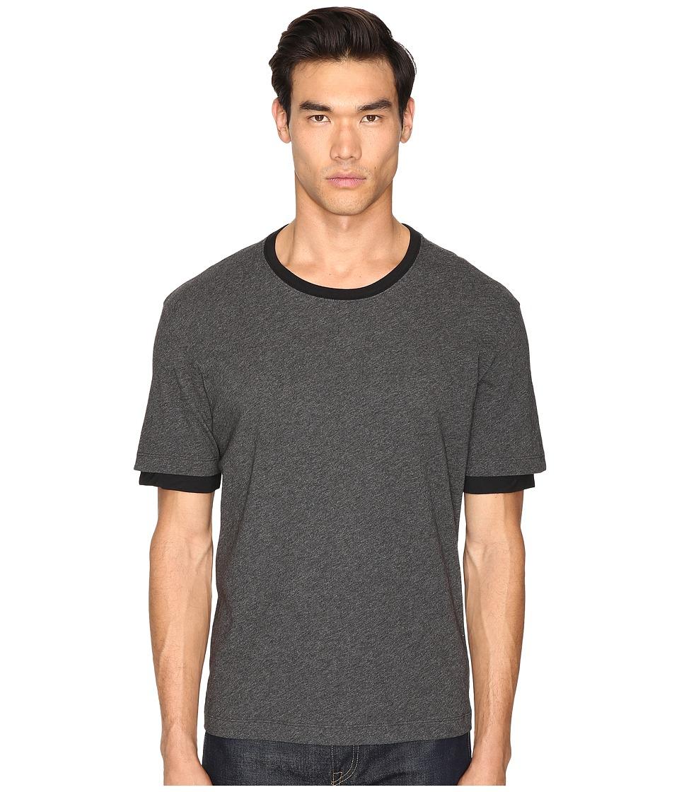 ATM Anthony Thomas Melillo - Layered Sleeve Crew Tee (Gray/Black) Men's T Shirt