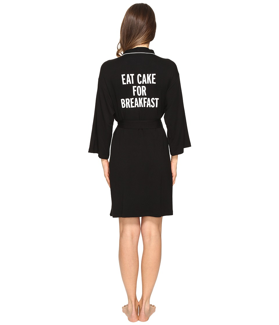 Kate Spade New York - Eat Cake For Breakfast Short Robe (Black) Women's Robe