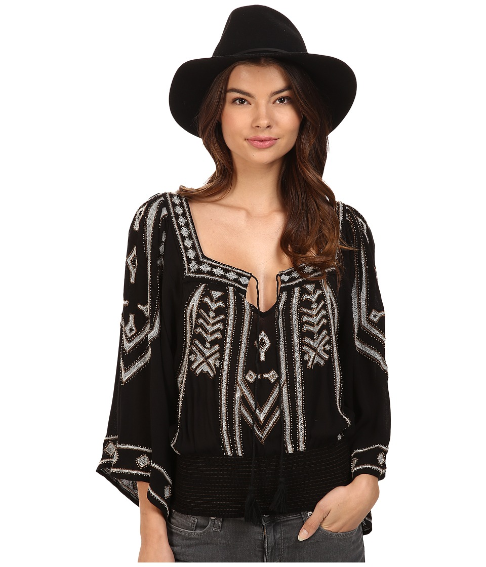 Free People - Don t Back Down Embroidered Top (Black) Women's Clothing