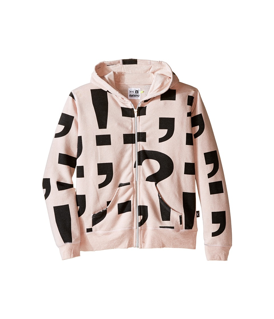 Nununu - Extra Soft Punctuation Screen Zip Hoodie (Little Kids/Big Kids) (Powder Pink) Girl's Sweatshirt