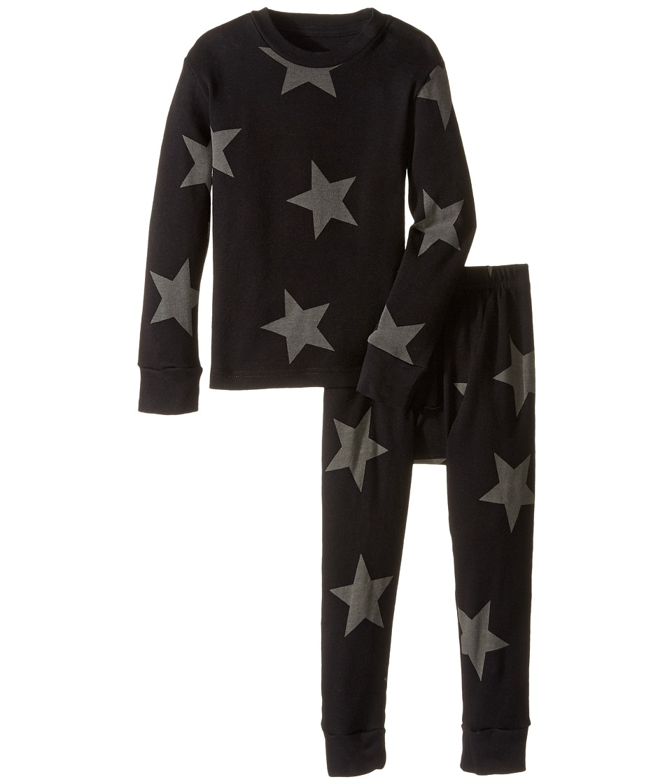 Nununu - Super Soft Star Print Loungewear Set (Infant/Toddler/Little Kids) (Black) Kid's Active Sets