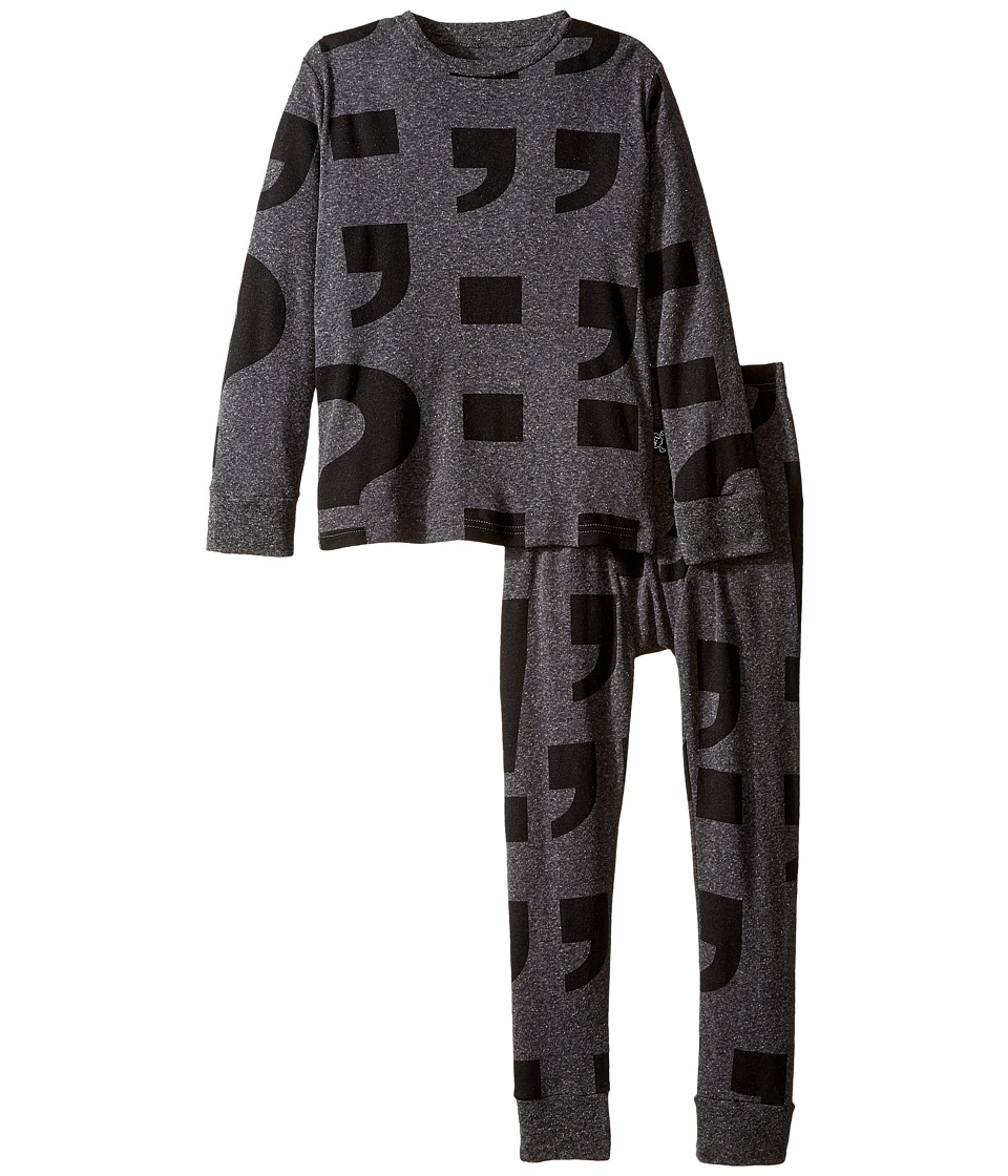 Nununu - Super Soft Punctuation Print Loungewear Set (Little Kids/Big Kids) (Charcoal) Kid's Active Sets