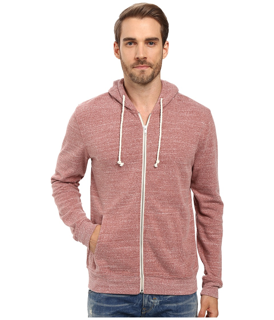 Threads 4 Thought - Triblend Zip Front Hoodie (Brick Red) Men's Sweatshirt