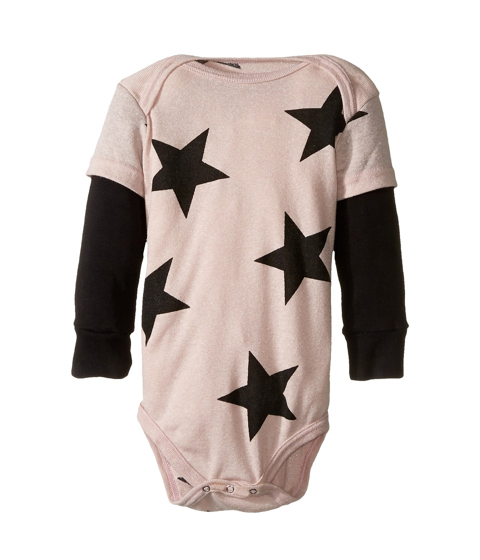 Nununu - Super Soft Star Print One-Piece (Infant) (Powder Pink) Girl's Jumpsuit & Rompers One Piece