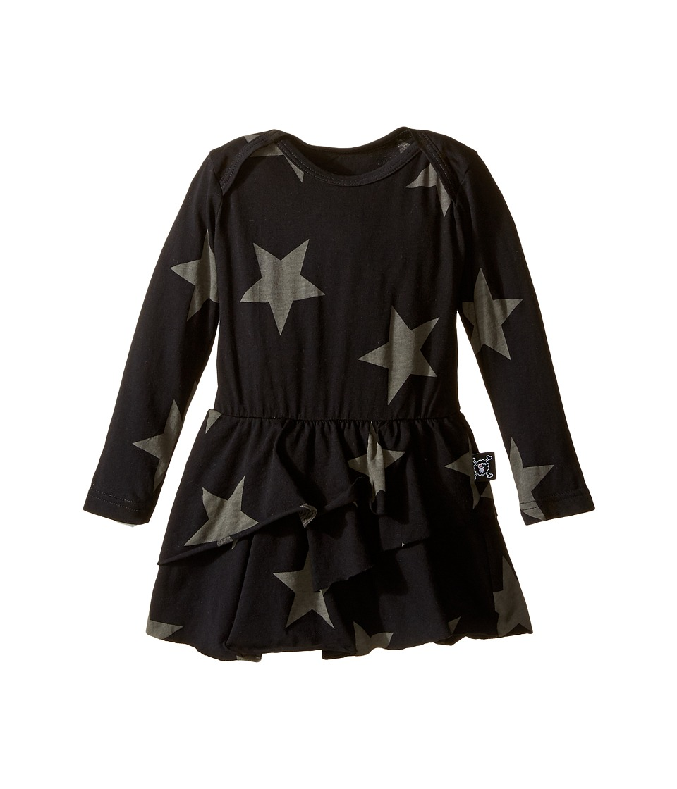 Nununu - Super Soft Star Print Dress with One-Piece Skirt (Infant) (Black) Girl's Jumpsuit & Rompers One Piece