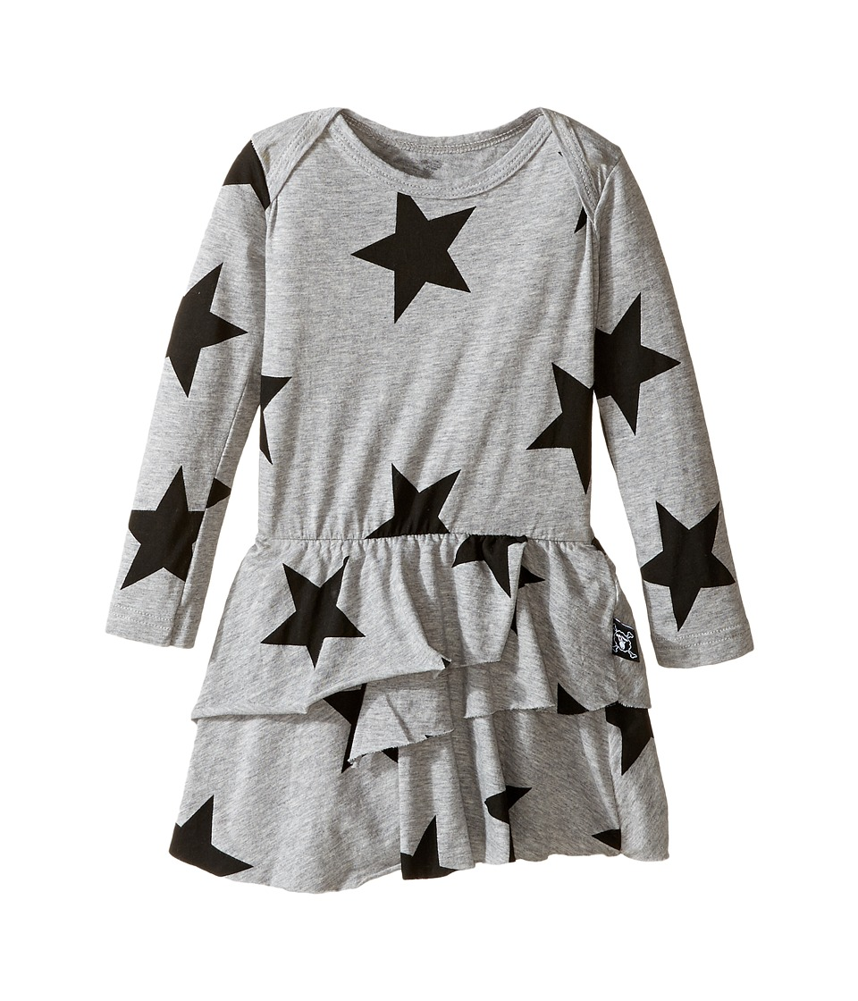 Nununu - Super Soft Star Print Dress with One-Piece Skirt (Infant) (Heather Grey) Girl's Jumpsuit & Rompers One Piece
