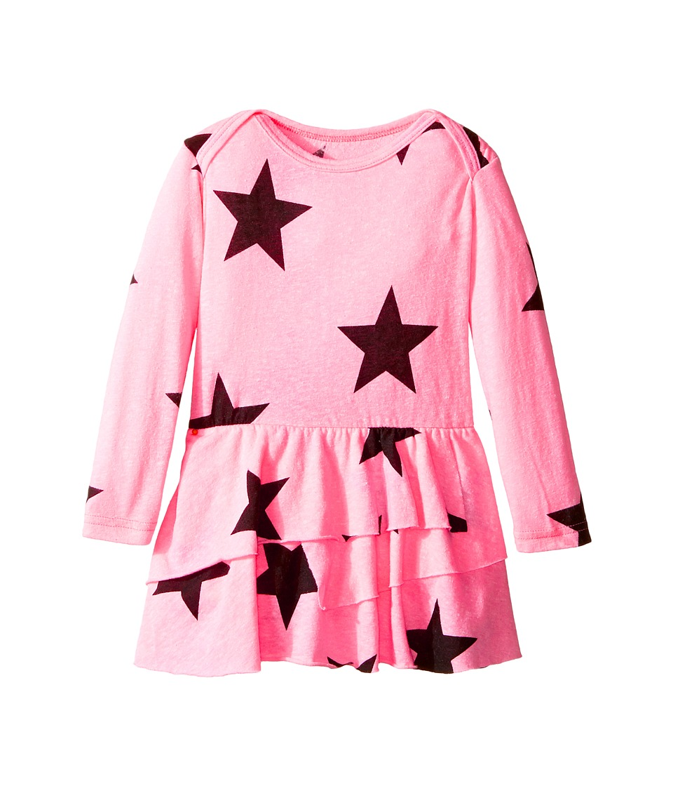 Nununu - Super Soft Star Print Dress with One-Piece Skirt (Infant) (Neon Pink) Girl's Jumpsuit & Rompers One Piece