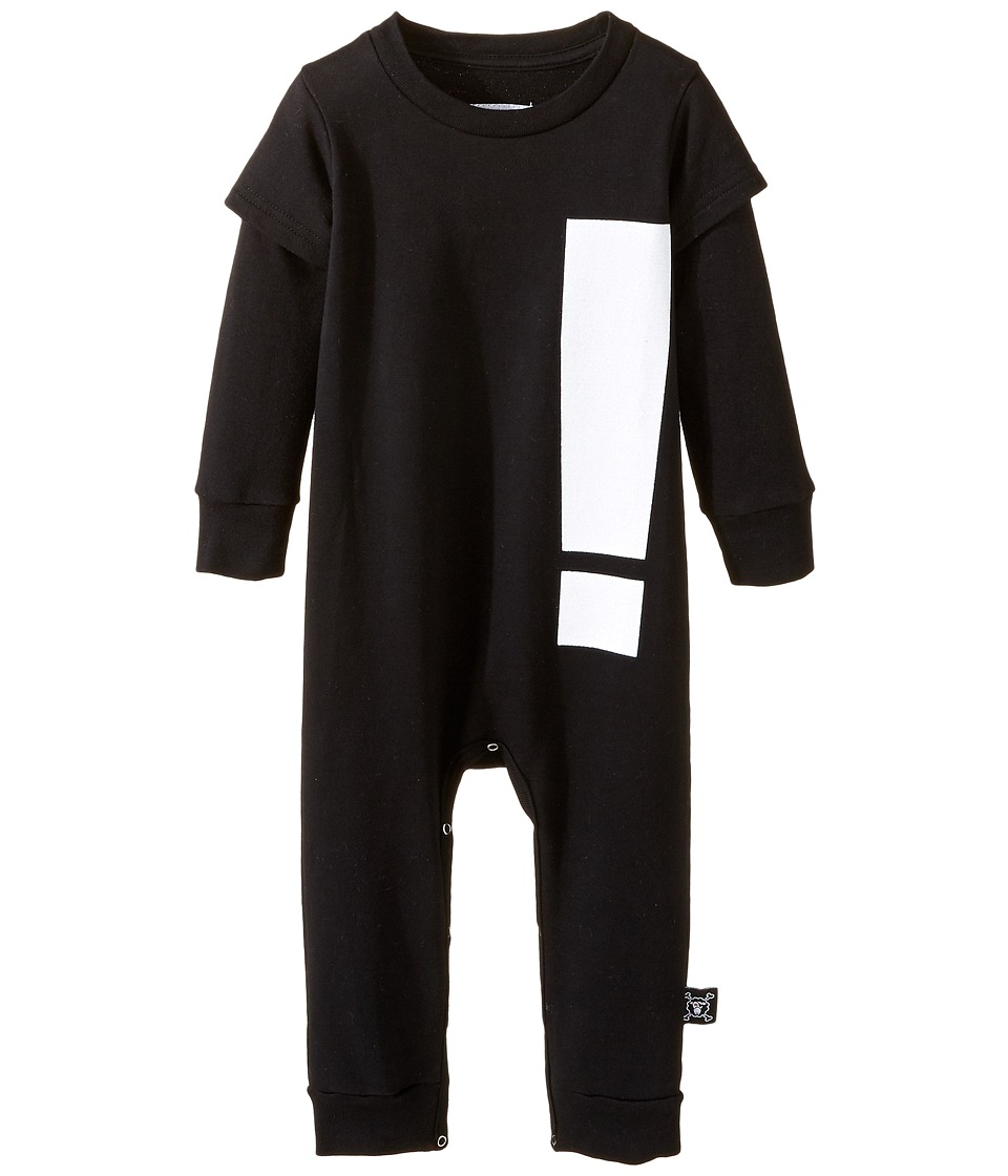 Nununu - Extra Soft French Terry Exclamation Playsuit (Infant) (Black) Kid's Jumpsuit & Rompers One Piece