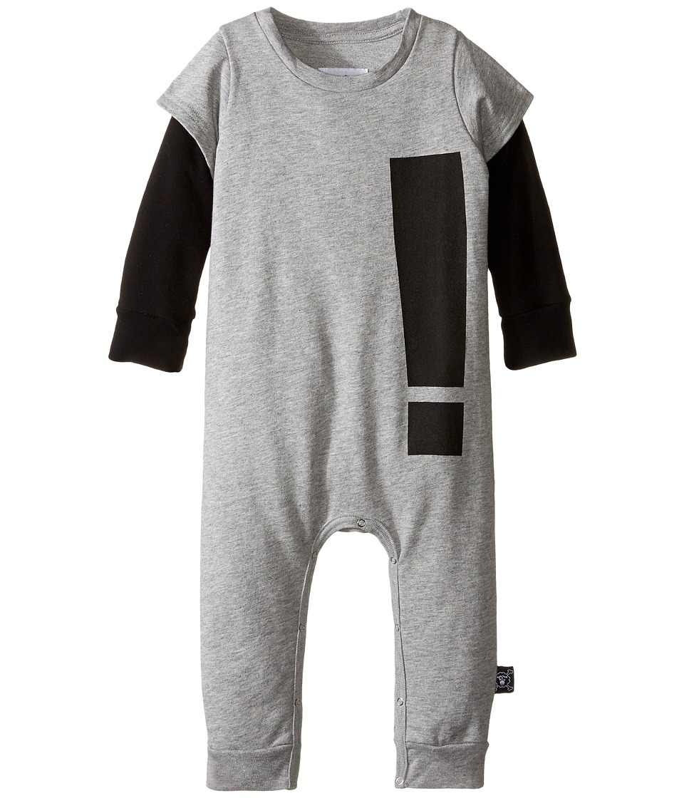 Nununu - Extra Soft French Terry Exclamation Playsuit (Infant) (Heather Grey) Kid's Jumpsuit & Rompers One Piece