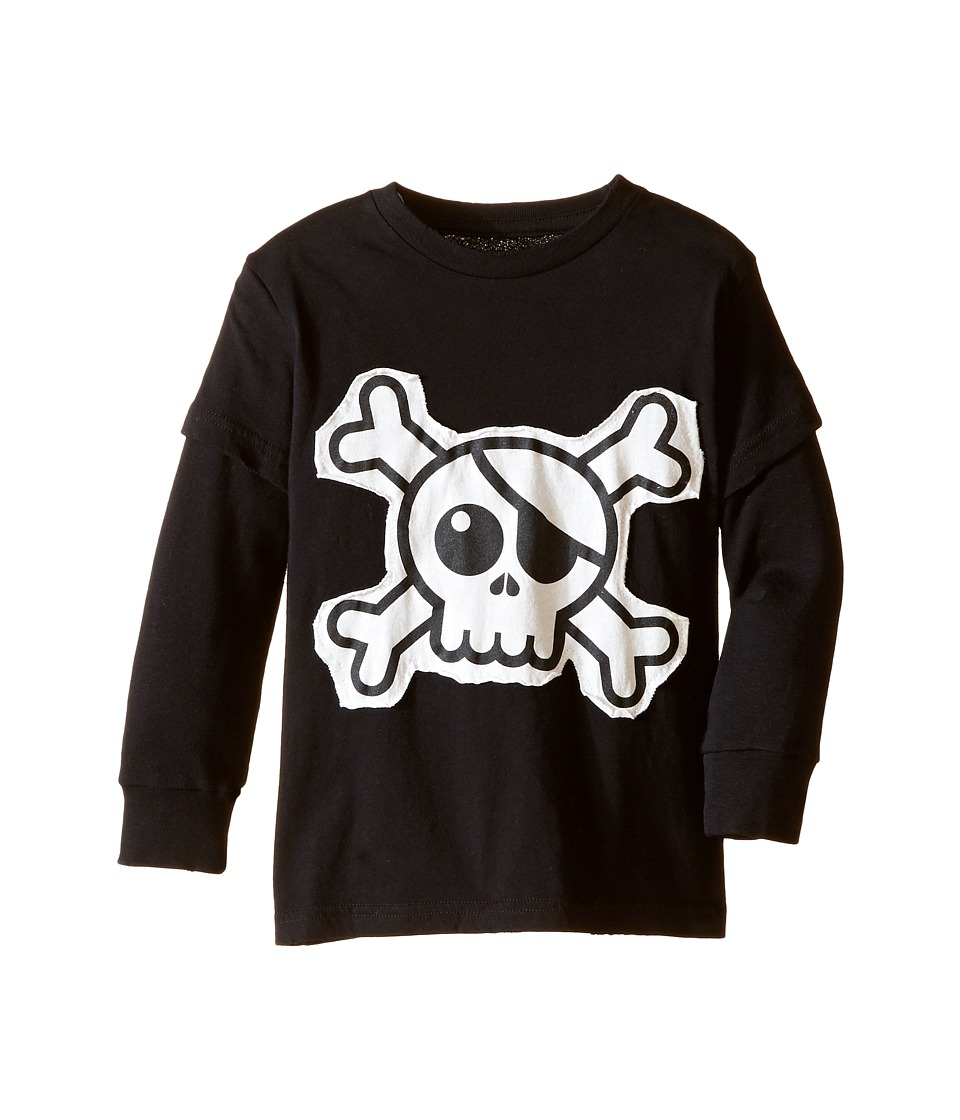Nununu - Super Soft Skull Patch T-Shirt (Infant/Toddler/Little Kids) (Black) Kid's T Shirt