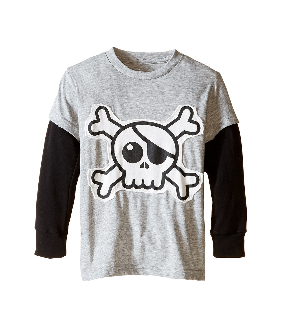 Nununu - Super Soft Skull Patch T-Shirt (Infant/Toddler/Little Kids) (Heather Grey) Kid's T Shirt