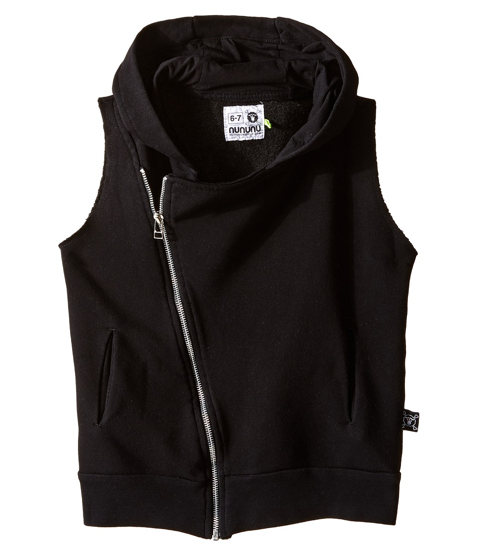 Nununu - Diagonal Hooded Super Soft Sweatshirt Vest (Little Kids/Big Kids) (Black) Kid's Vest