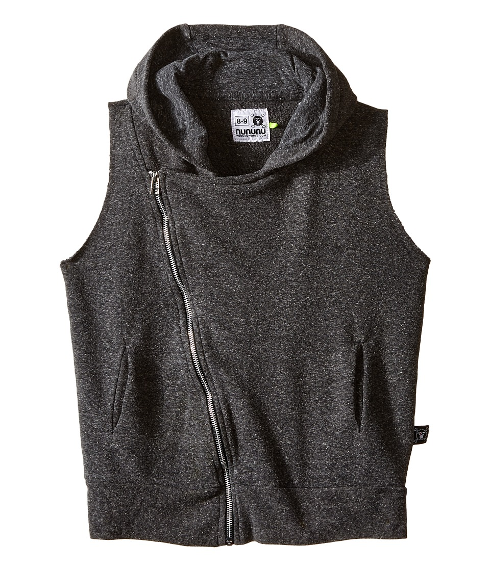 Nununu - Diagonal Hooded Super Soft Sweatshirt Vest (Little Kids/Big Kids) (Charcoal) Kid's Vest