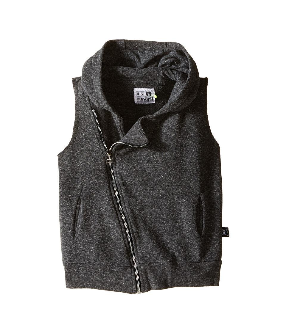 Nununu - Diagonal Hooded Super Soft Sweatshirt Vest (Infant/Toddler/Little Kids) (Charcoal) Kid's Vest