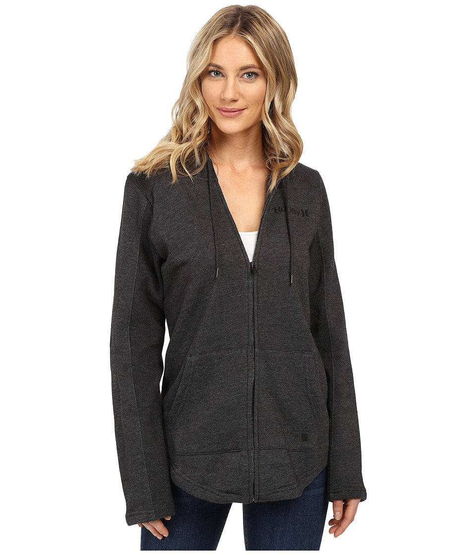 Hurley - Seaside Fleece Zip Hoodie (Black Heather) Women's Fleece