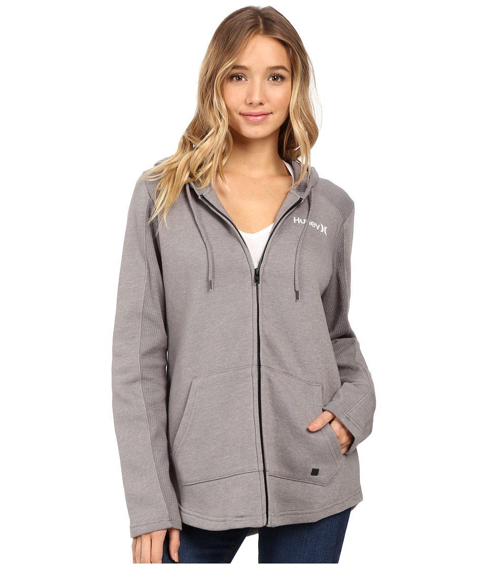 Hurley - Seaside Fleece Zip Hoodie (Heather Grey) Women's Fleece