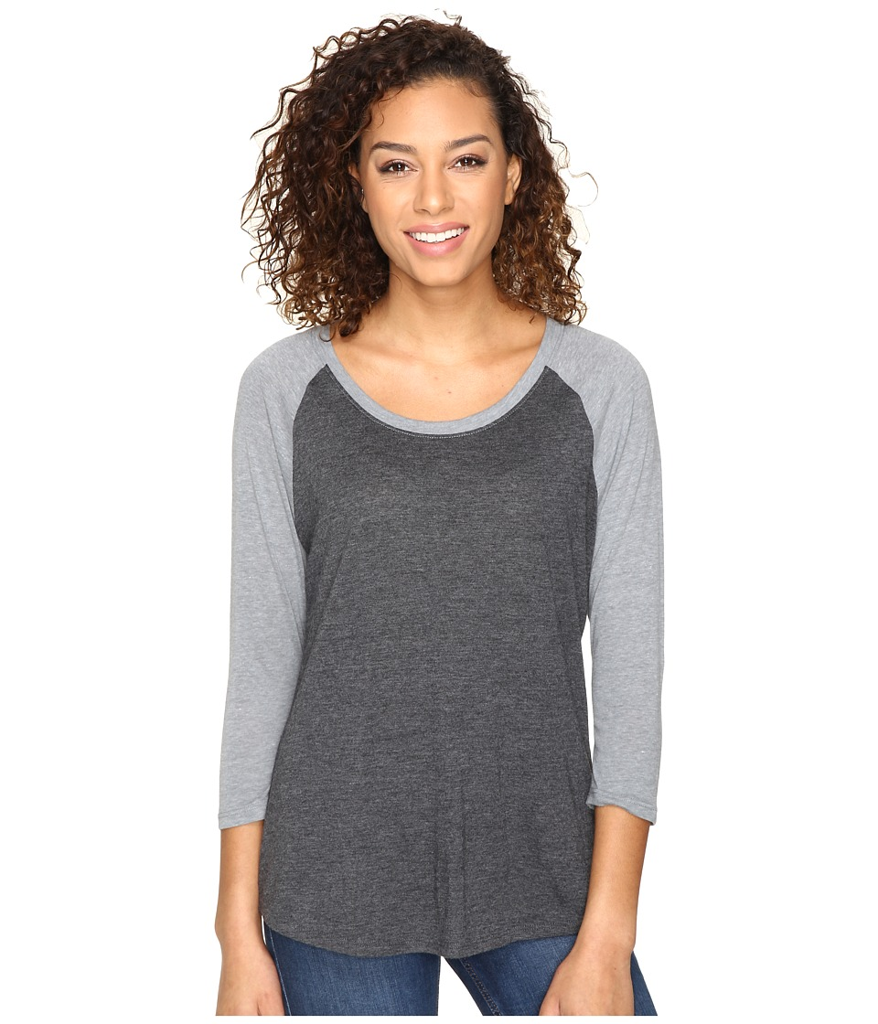 Hurley - Staple Easy Raglan (Heather Black/Heather Cool Grey) Women's Long Sleeve Pullover