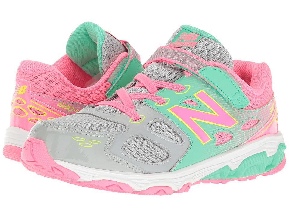 New Balance Kids KA680v3 (Little Kid/Big Kid) (Grey/Pink) Girls Shoes