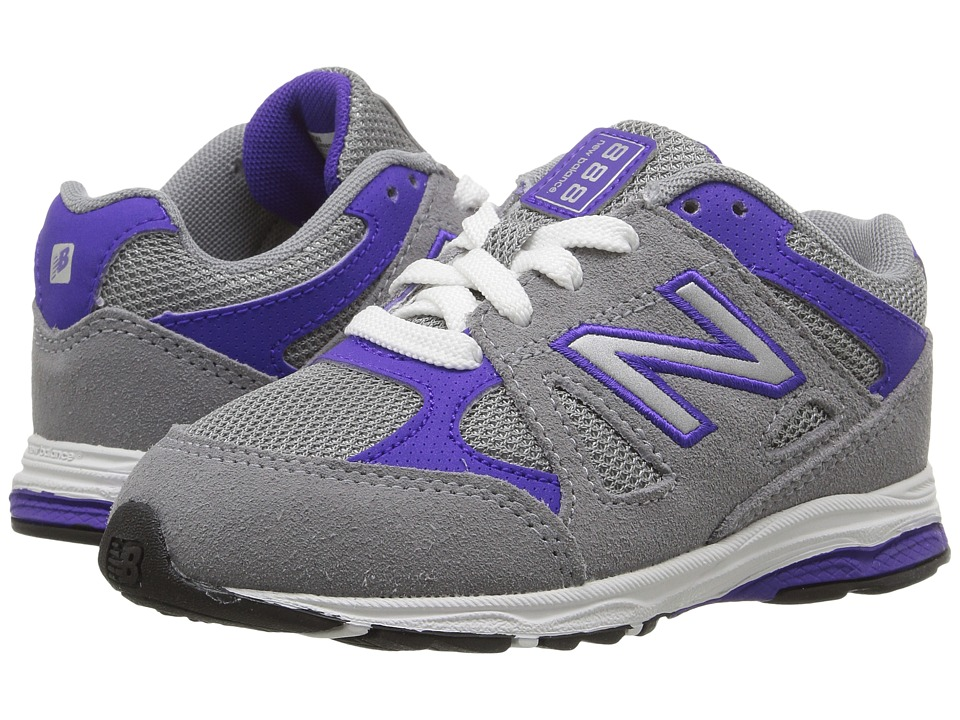 New Balance Kids KJ888v1 (Infant/Toddler) (Grey/Purple) Girls Shoes