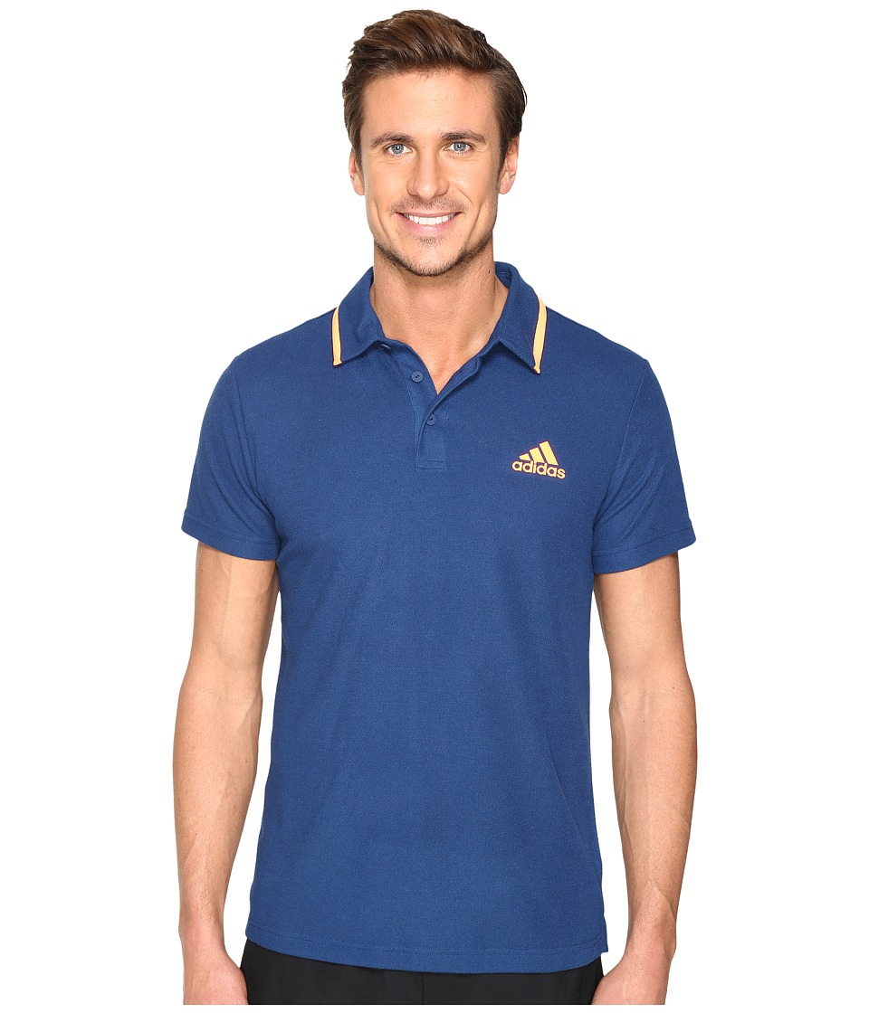 adidas - Essex Polo (Mystery Blue/Glow Orange) Men's Short Sleeve Pullover
