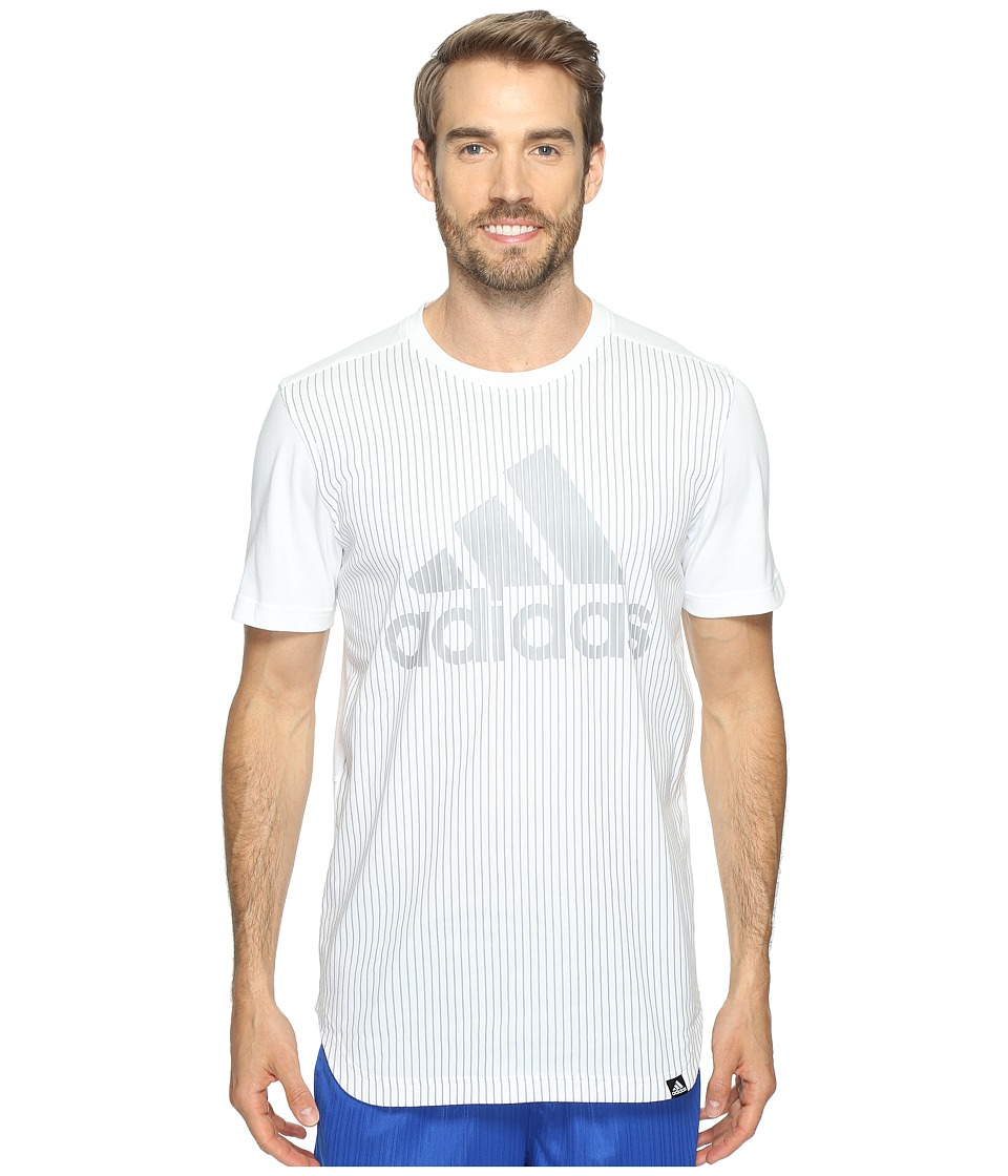 adidas - Pinstripe Adidas Tee (White/Light Onix) Men's Short Sleeve Pullover