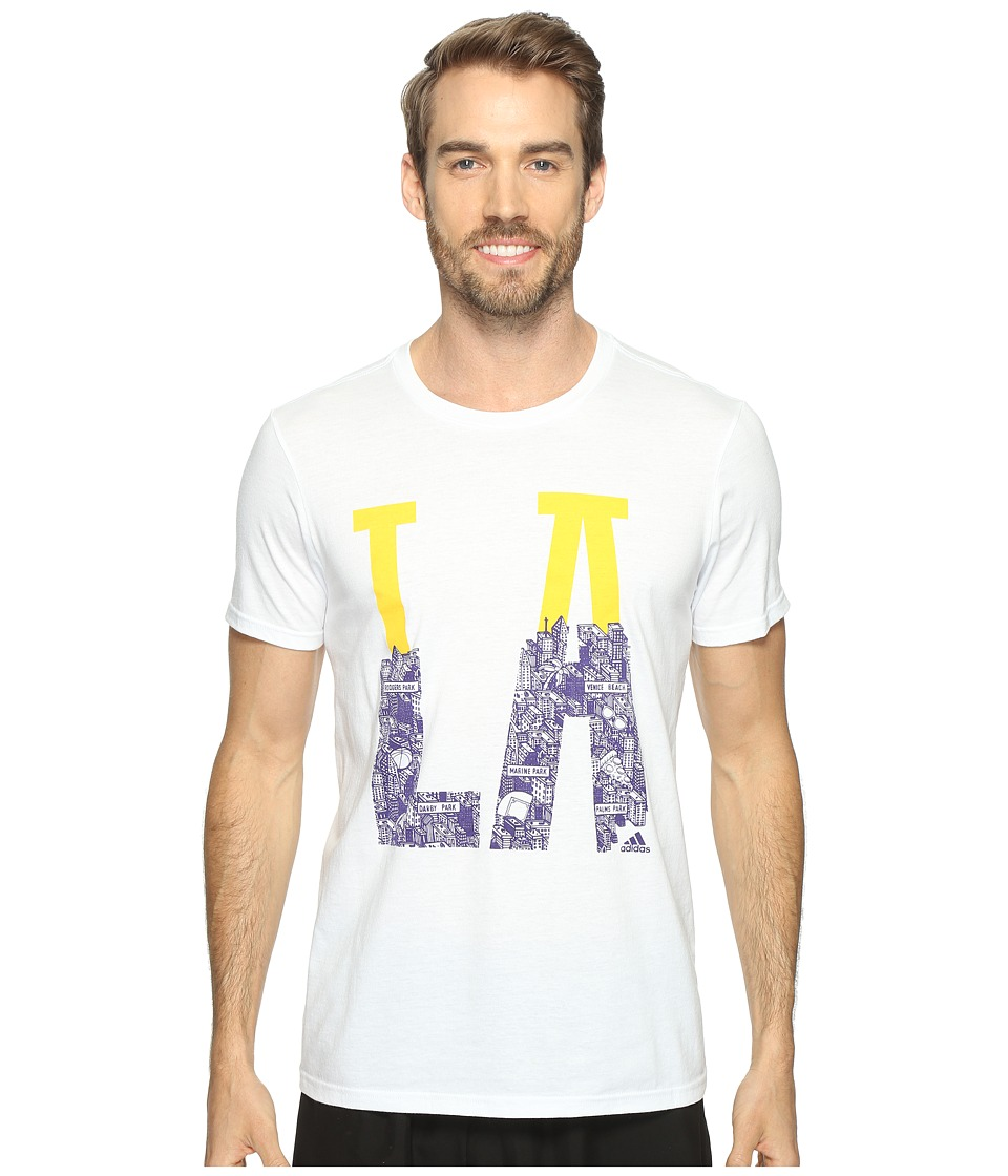 adidas - Adi LA Tee (White/Bold Gold/Collegiate Purple) Men's Short Sleeve Pullover