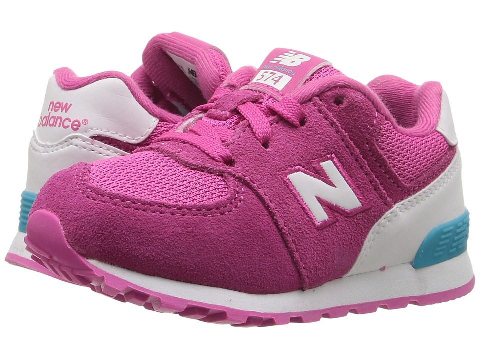 New Balance Kids - KL574v1 Reflective (Infant/Toddler) (Pink/White) Girls Shoes