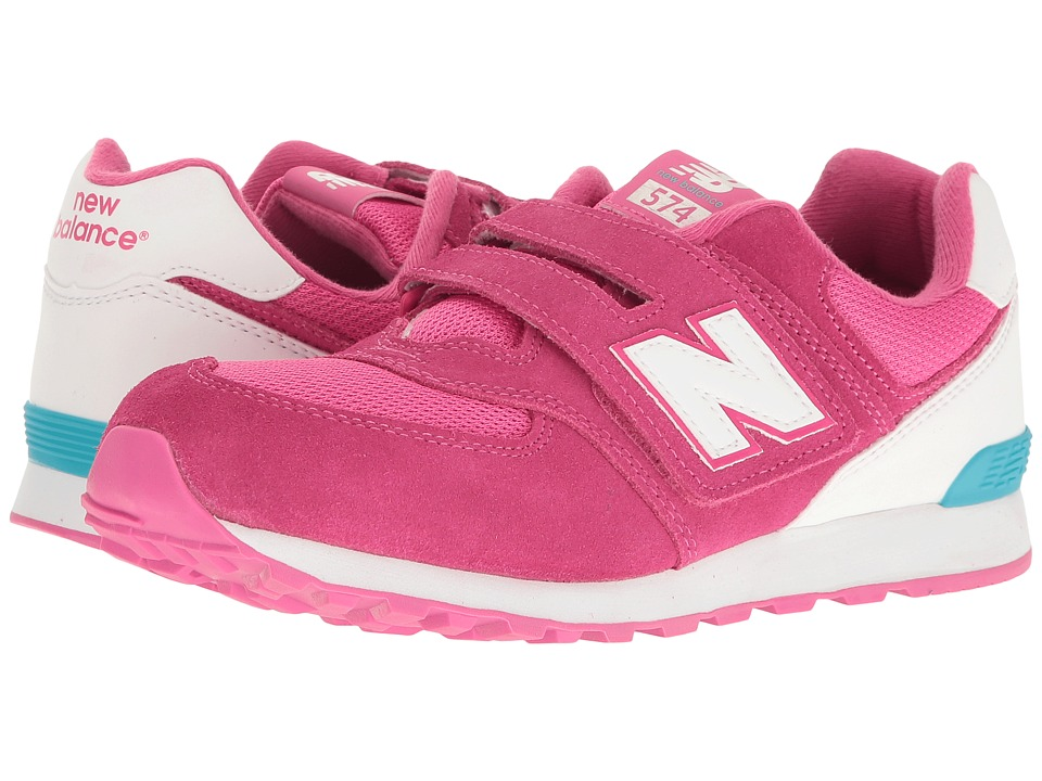 New Balance Kids KV574v1 Reflective (Little Kid/Big Kid) (Pink/White) Girls Shoes