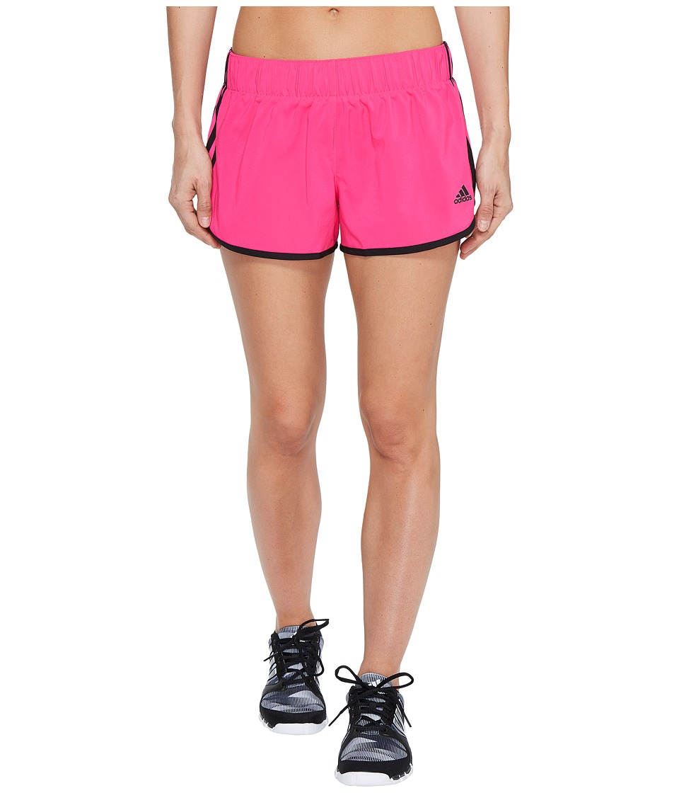 adidas - Woven 3-Stripes Shorts (Shock Pink S16/Black) Women's Shorts
