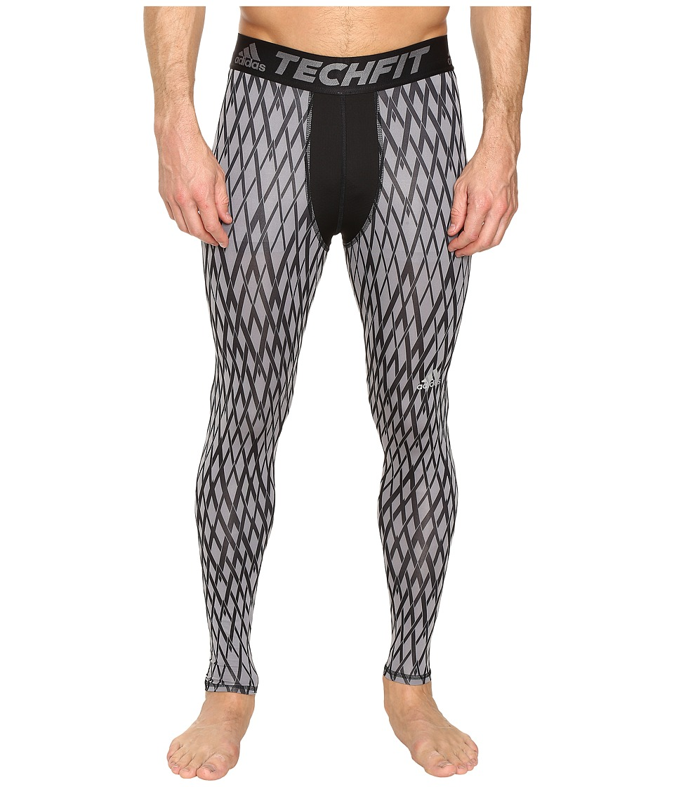 adidas - Techfit Compression Long Tights (Grey/Black) Men's Workout