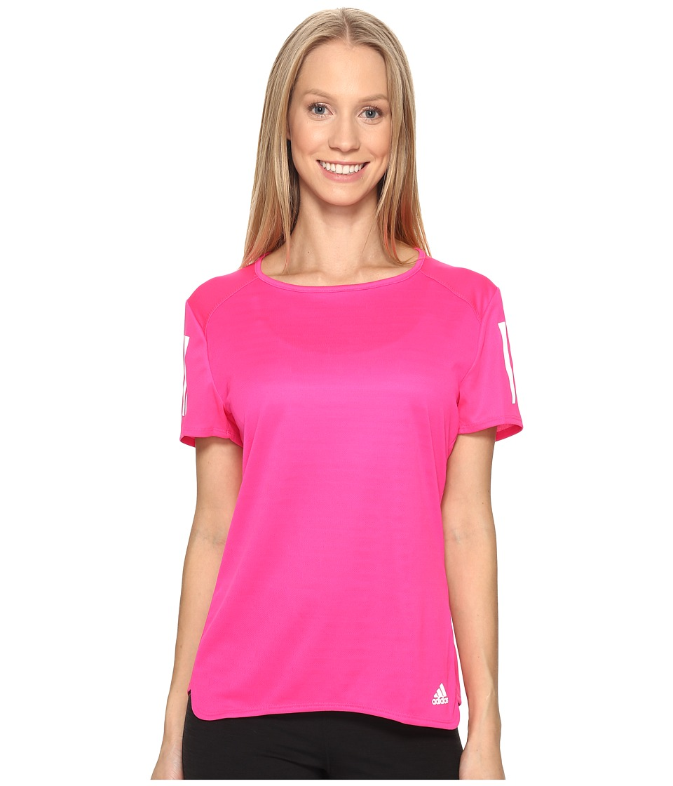 adidas - Response Short Sleeve Tee (SHOCK PINK S16) Women's Short Sleeve Pullover