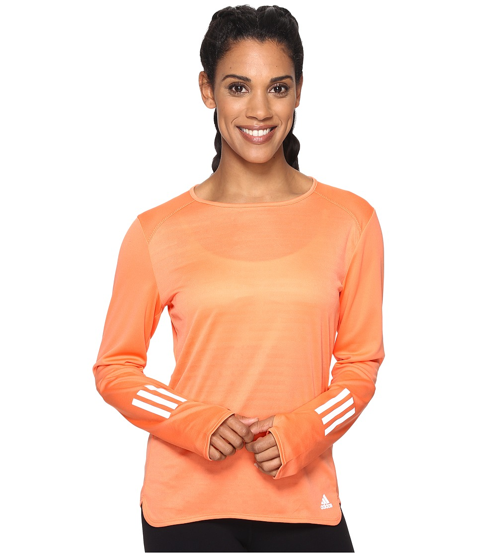 adidas - Response Long Sleeve Tee (Easy Orange S17) Women's Long Sleeve Pullover