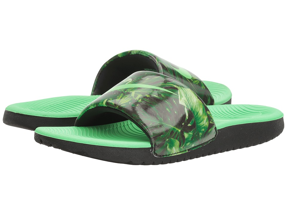 Nike Kids - Kawa Slide Print (Little Kid/Big Kid) (Black/Electro Green) Boys Shoes