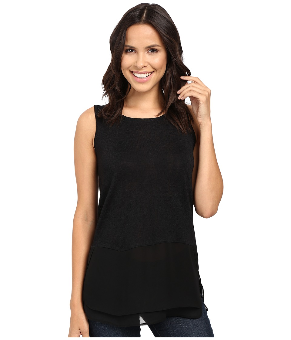 NIC+ZOE - Chiffon Trim Tank Top (Black Onyx) Women's Sleeveless