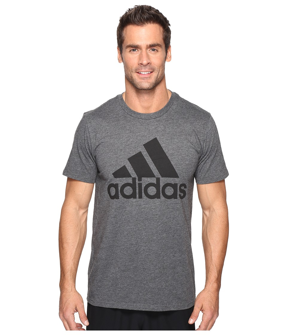 adidas - Badge of Sport Classic Tee (Dark Grey Heather/Black) Men's T Shirt