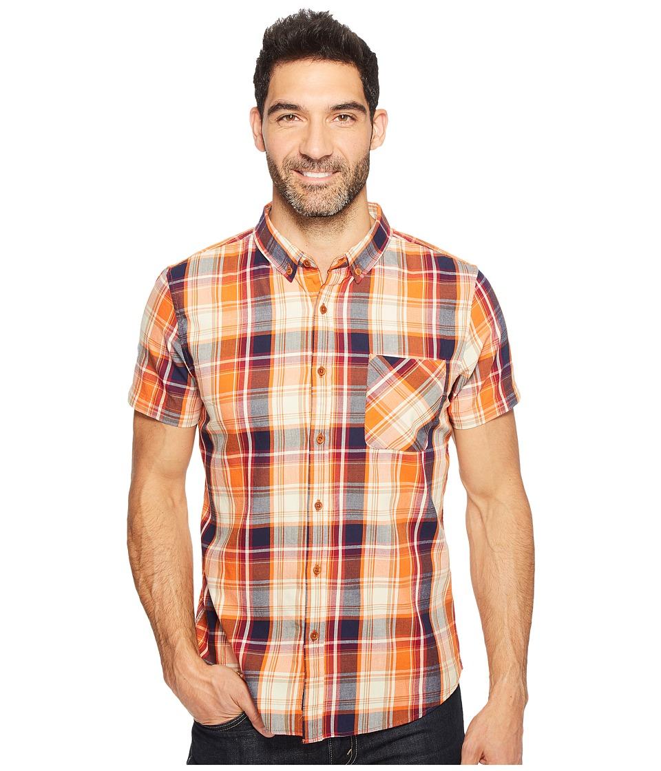 United By Blue - Short Sleeve Springer Plaid Shirt (Orange/Blue) Men's Clothing