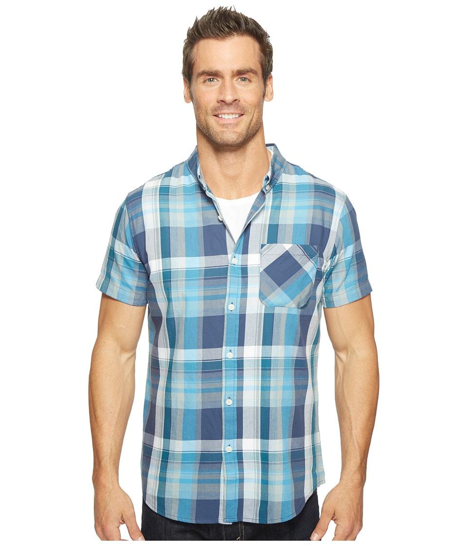United By Blue - Short Sleeve Washington Plaid Shirt (Blue) Men's Clothing