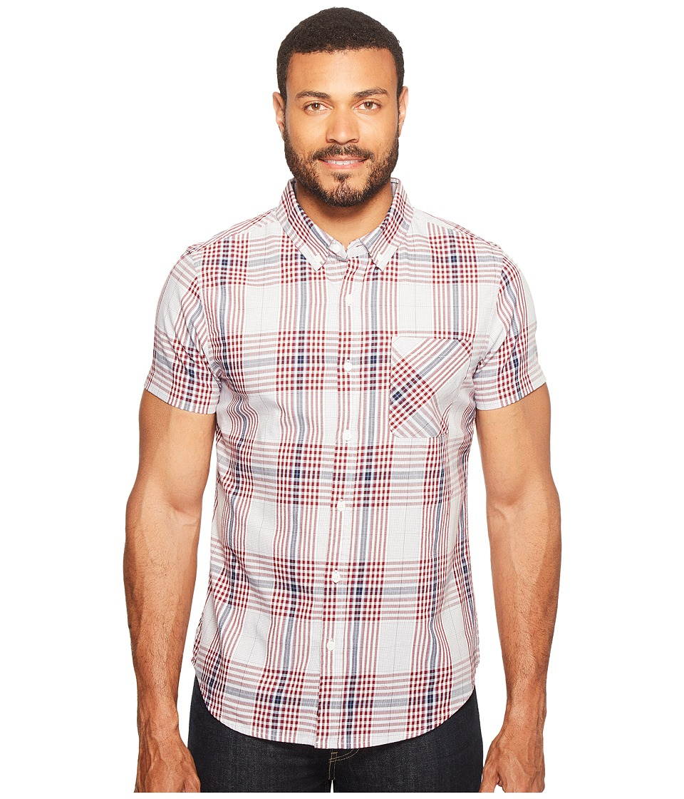 james campbell facto short sleeve plaid shirt blue mens clot