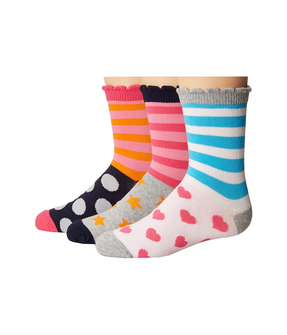 Jefferies Socks - Stripes/Dots/Hearts/Stars Crew Socks 3-Pair Pack (Toddler/Little Kid/Big Kid) (Multi) Girls Shoes