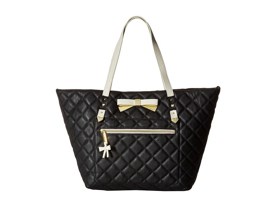 Betsey Johnson - Diamond Quilt Tote with Pouch (Black) Tote Handbags