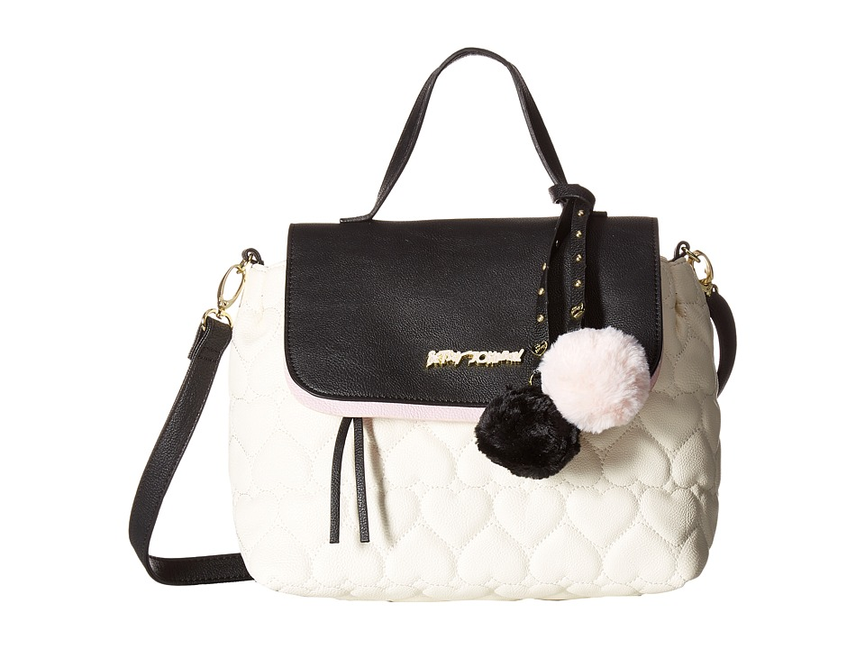 Betsey Johnson - Be Mine Top-Handle Satchel (Cream/Black) Satchel Handbags