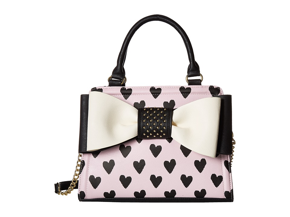 Betsey Johnson - Studded Bow Satchel (Pink) Satchel Handbags