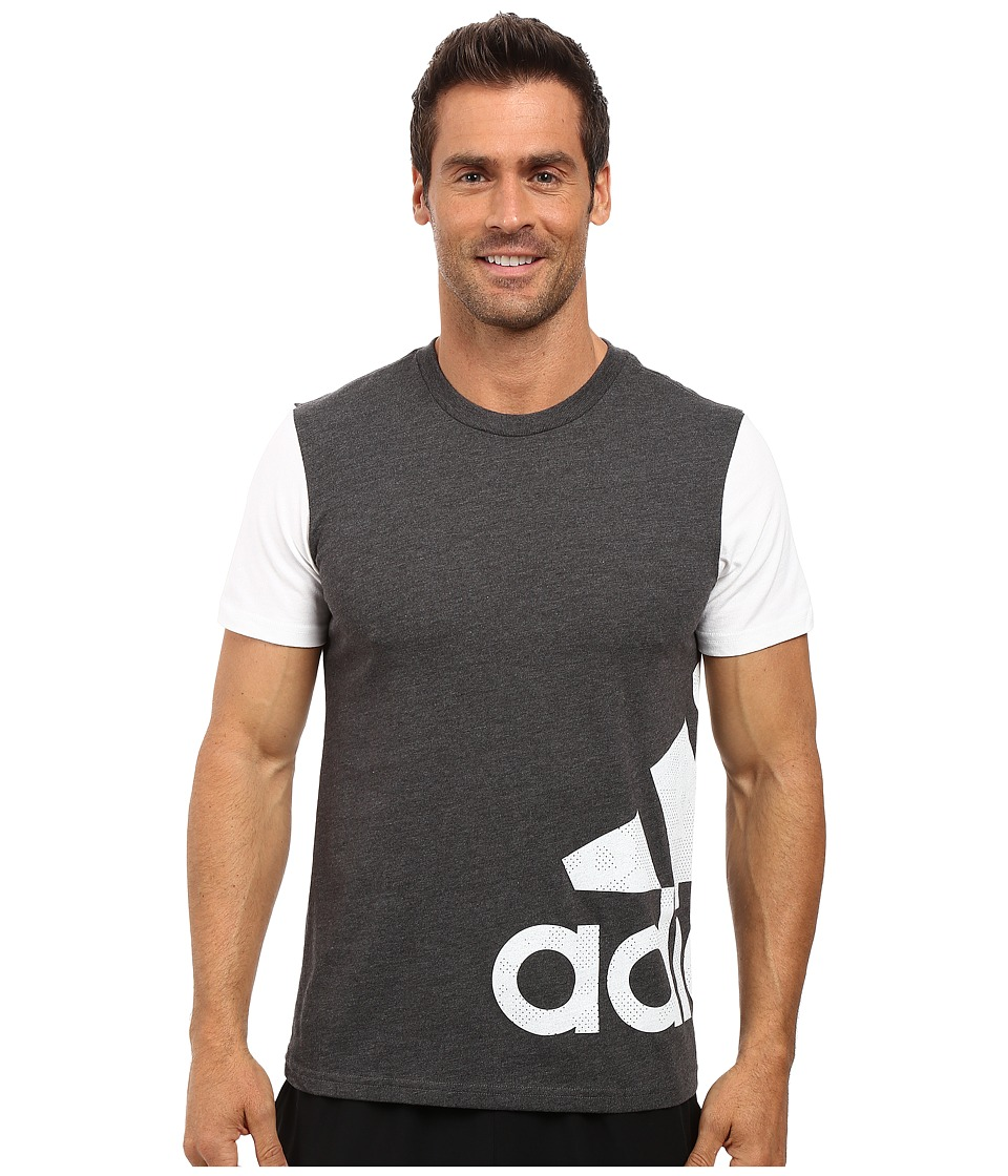 adidas - Badge of Sport Wrap Tee (Dark Grey Heather/White) Men's T Shirt