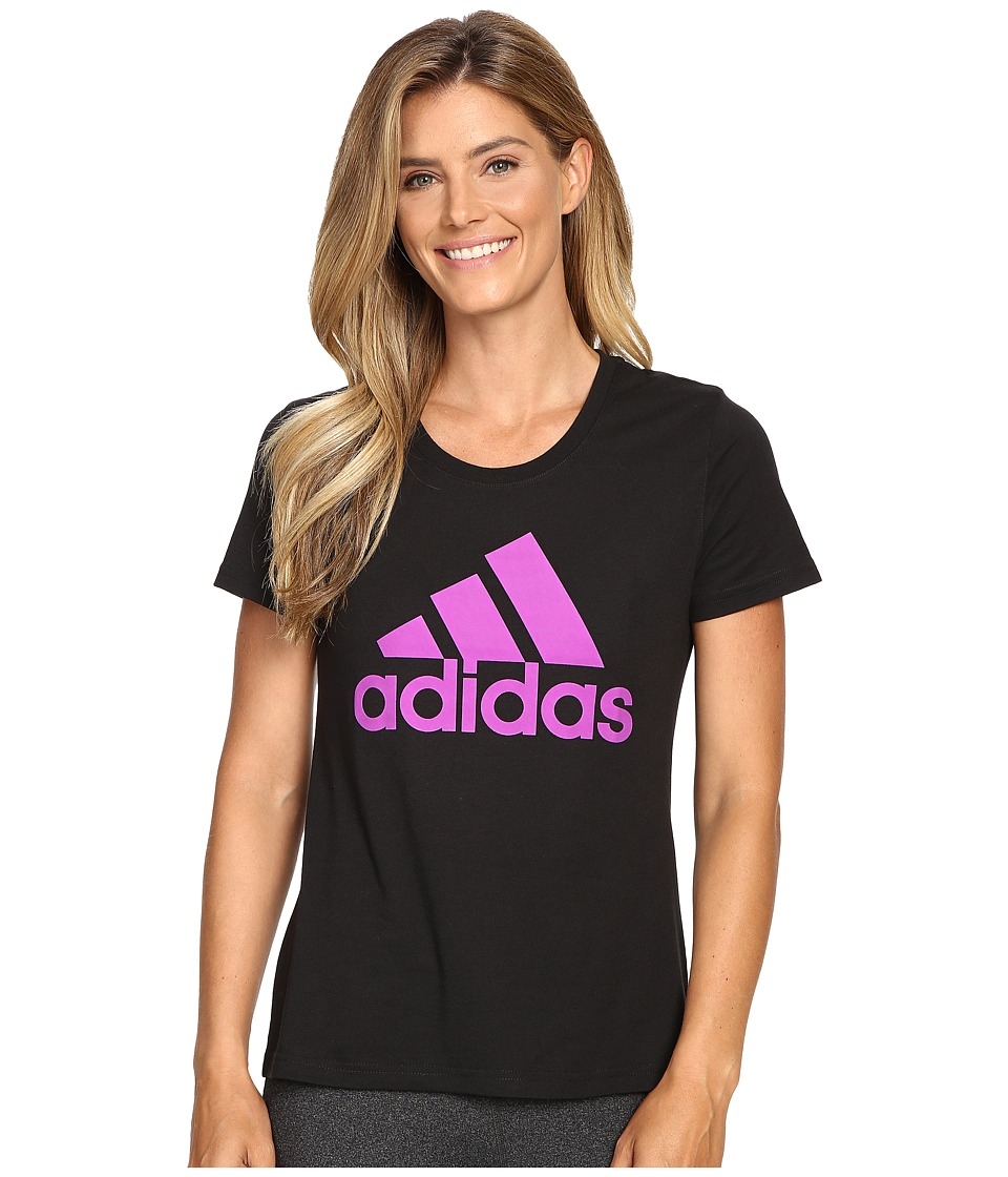 adidas - Badge of Sport Tee (Black/Shock Purple) Women's T Shirt