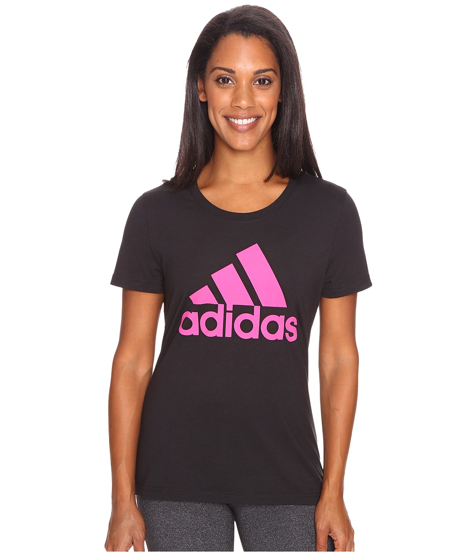 adidas - Badge of Sport Tee (Black/Pink) Women's T Shirt