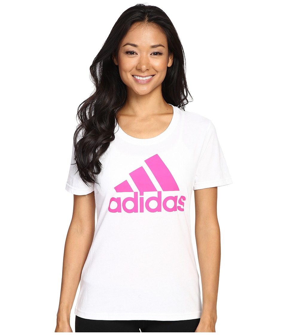 adidas - Badge of Sport Tee (White/Shock Pink) Women's T Shirt